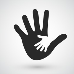 Helping hands icon. Care, adoption, pregnancy or family concept. Vector illustration