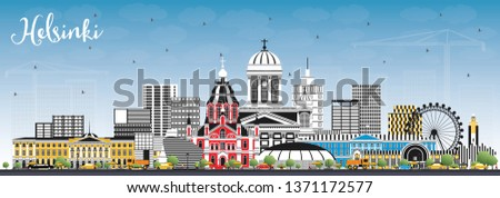 Helsinki Finland City Skyline with Color Buildings and Blue Sky. Vector Illustration. Business Travel and Concept with Historic Architecture. Helsinki Cityscape with Landmarks.