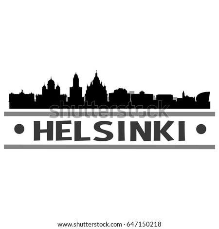 Helsinki Skyline Silhouette Skyline Stamp Vector City Design