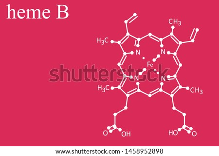 HEME B molecule line formula on red background