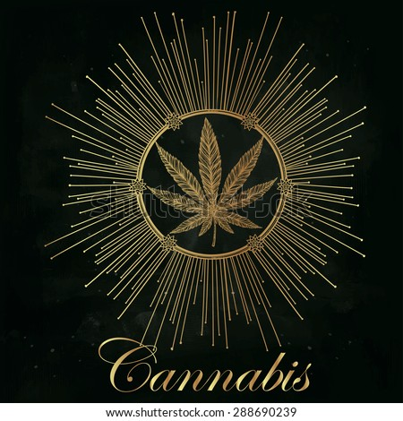 hemp cannabis leaf in vintage
