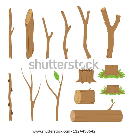 Hemp, logs, branches and sticks of forest trees. Vector cartoon illustration Stockfoto ©