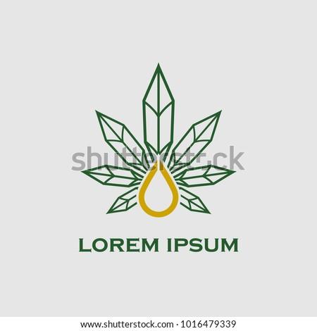 hemp oil or cannabis oil vector logo template