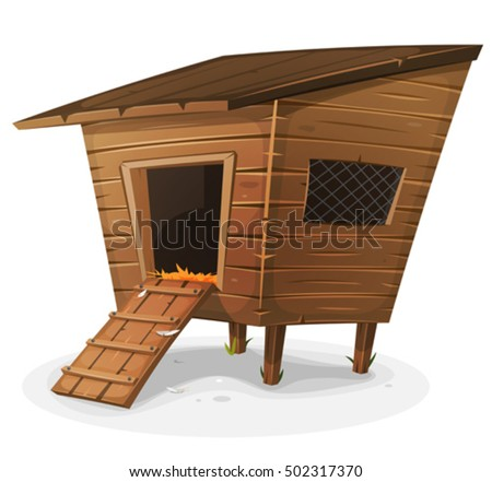 Hen House Illustration of a cartoon wooden farm chicken coop, with entrance and little window with grid