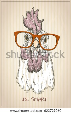 Hen or rooster graphic portrait, front view, vintage style illustration
