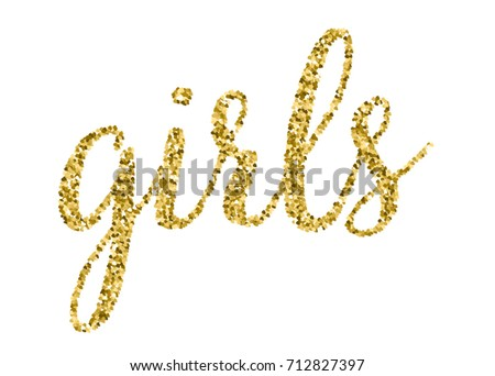 Hen Party Bachelorette vector element for cards, t-shirts, stickers, invitations. Golden word Girls with glitter.