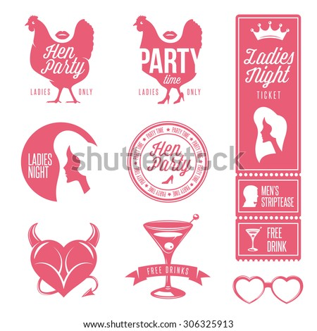 Hen party design elements set. Ladies night stamps, signs and symbols. Retro style vector illustration.