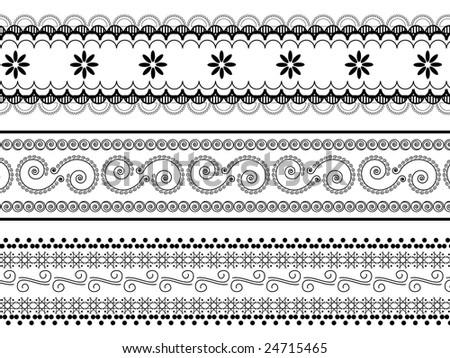 henna borders - stock vector