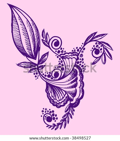 stock vector Henna doodle Flower design Vector