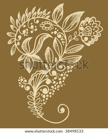 Henna doodle flower design vector stock vector
