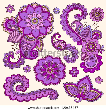 henna flowers and paisley mehndi tattoo doodle set colorful abstract floral hand drawn vector. Black Bedroom Furniture Sets. Home Design Ideas