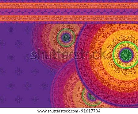 Henna Mandala Background Henna inspired Colourful Mandala very elaborate and easily editable- Eps10