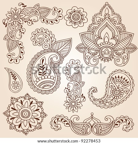 Henna Mehndi Doodles Abstract Floral Paisley Design Elements Mandala and Page Corner Design Vector Illustration