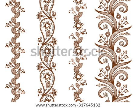 Henna ornamental seamless borders. Mehndi style. Four floral one-color borders, vertical seamless pattern. Smartly layered. #317645132