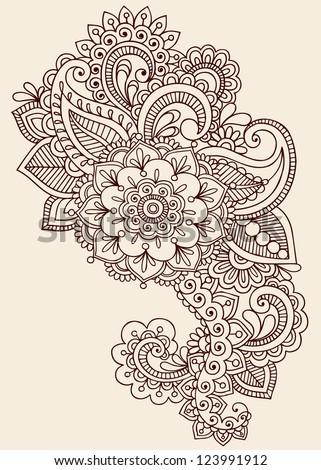 henna paisley flowers mehndi tattoo doodles design abstract floral illustration design elements. Black Bedroom Furniture Sets. Home Design Ideas
