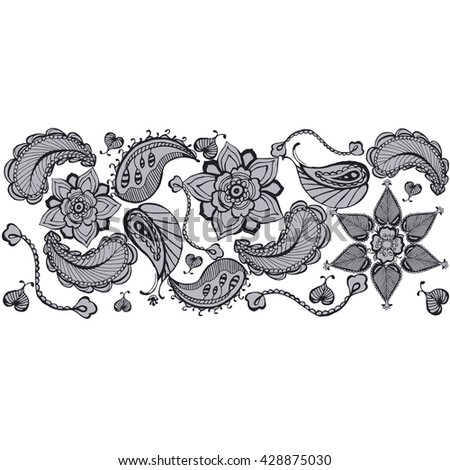 Henna Tattoo Doodle Vector Elements On White Background Unique