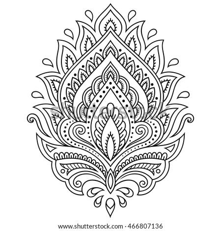 466807142 Shutterstock Henna Tattoo Flower Template In Indian