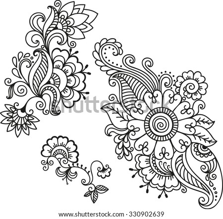 Safranin coloring pages ~ Related Keywords & Suggestions for henna flowers
