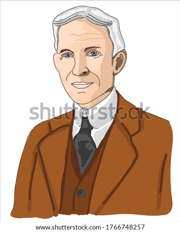 henry ford cartoon vector