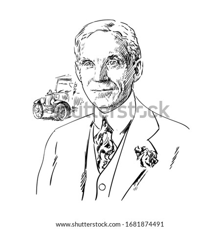 henry ford hand drawn portrait