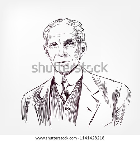 henry ford vector sketch