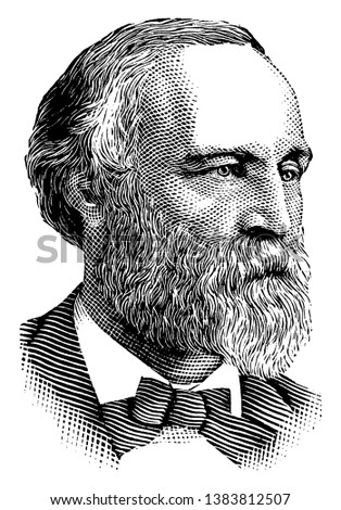 Henry L. Dawes, 1816-1903, he was a republican United States senator and United States representative from Massachusetts, famous for the Dawes Act, vintage line drawing or engraving illustration