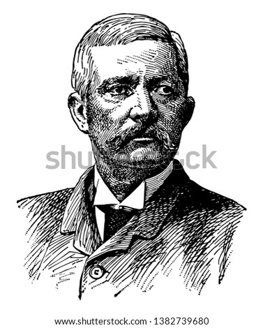 Henry Morton Stanley, 1841-1904, he was a journalist and explorer who was famous for his exploration of central Africa, vintage line drawing or engraving illustration