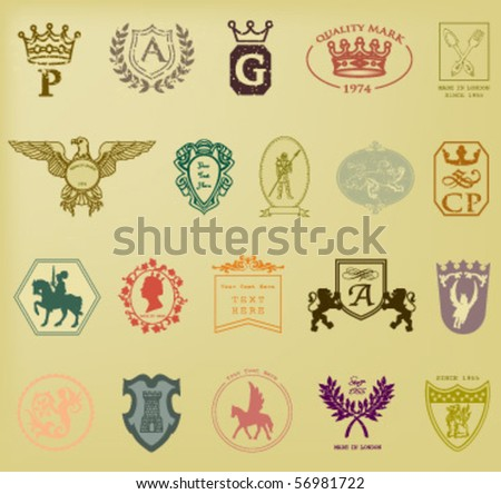 HERALDIC AND ROYAL SYMBOLS. QUALITY MARKS SUCH AS LOGO. Vector illustration file.