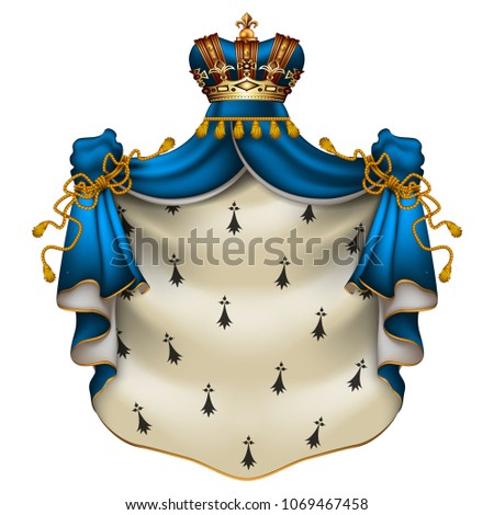 Heraldic background with a blue ermine royal mantle with a crown