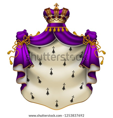 Heraldic background with a violet ermine royal mantle with a crown