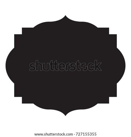 heraldic black silhouette decorative frame vector illustration
