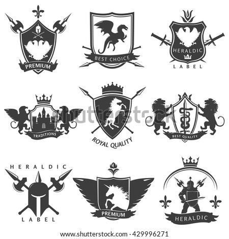 heraldic black white labels