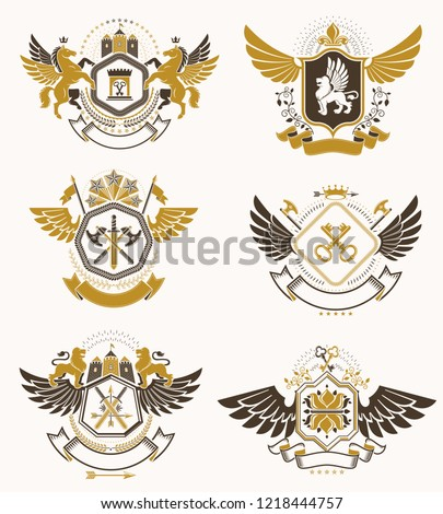 Heraldic Coat of Arms created with vintage vector elements, bird wings, animals, towers, crowns and stars. Classy symbolic emblems collection, vector set.