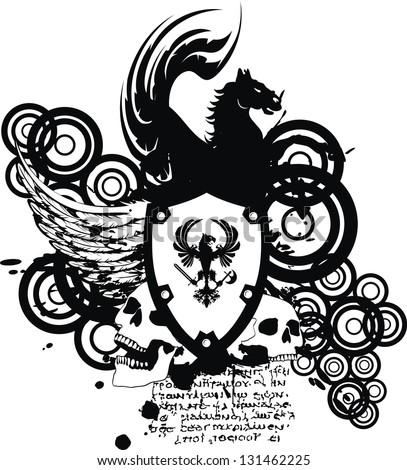 heraldic coat of arms crest skull in vector format