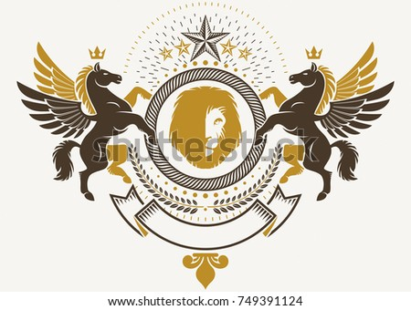 Heraldic Coat of Arms decorative emblem isolated vector illustration decorated with graceful Pegasus, wild lion and pentagonal stars.