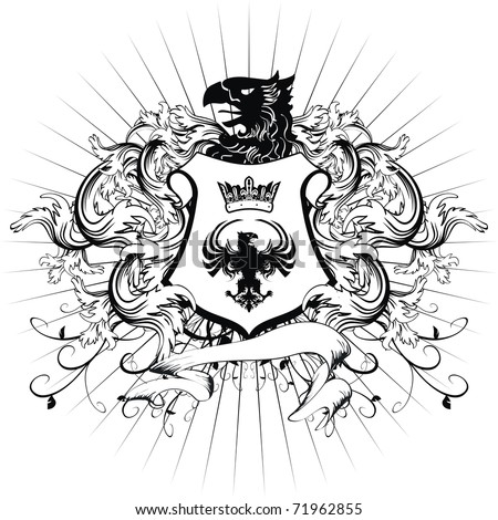 heraldic coat of arms shield in vector format very easy to edit