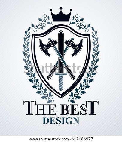 heraldic design  vector vintage