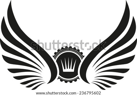 heraldic design with wings and