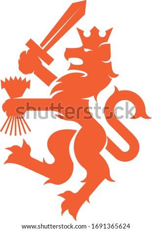 Heraldic Dutch Lion Emblem (Orange) Stock photo ©