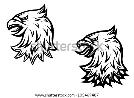 Heraldic eagle head on two variations for medieval concept design, such logo. Jpeg version also available in gallery