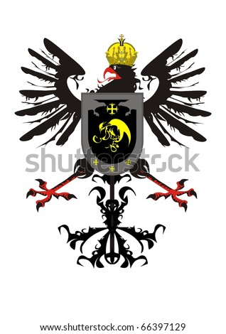 Heraldic eagle with a crown and a shield