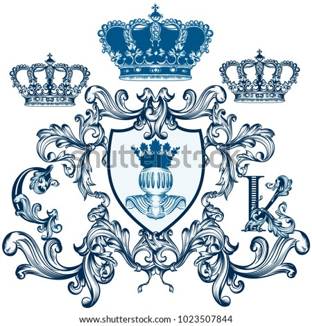 stock-vector-heraldic-elegant-shield-with-crown-or-crest-in-classic-vintage-style