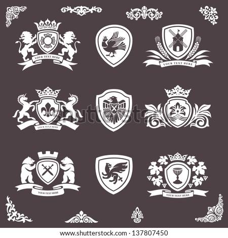 heraldic elements vector set