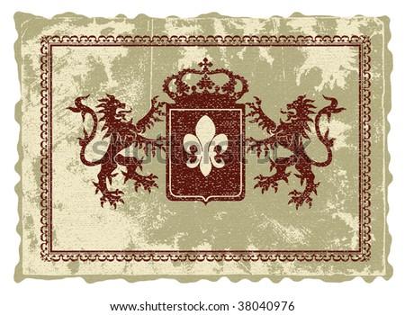 Heraldic emblem in medieval style.