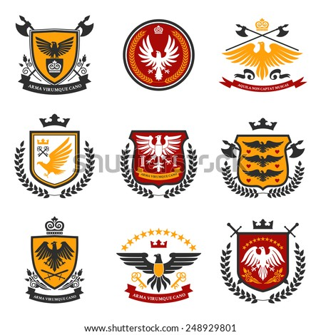Heraldic emblems and shield set with eagle birds isolated vector illustration