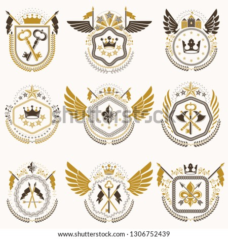 Heraldic emblems with wings isolated on white backdrop. Collection of vector symbols in vintage style created using heraldry elements like crowns, towers, crosses and armory.