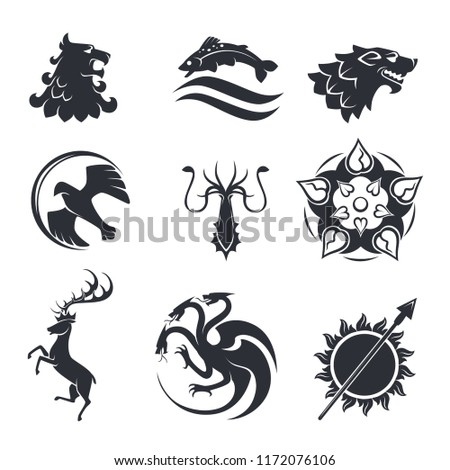 stock-vector-heraldic-gothic-vector-animals-and-birds-or-fish