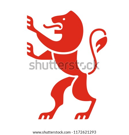 Heraldic lion, coat of arms in modern style, symbol of strength, courage and generosity, red color icon vector illustration isolated on white background