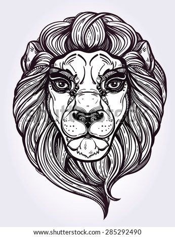 heraldic lion head isolated