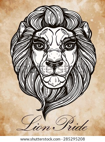 Heraldic Lion Head. Isolated Vector illustration. Hand drawn lion in vintage engraved style. Line art tattoo template. Romantic scrapbook sample. Symbol of pride and glory.